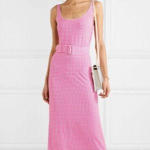 Pink Gingham maxi dress by BERNADETTE size 36 FR